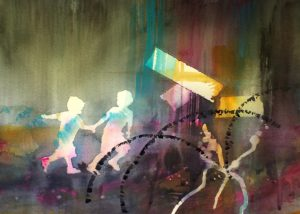 Limited Edition Print: Running For It-Techniques > Giclée Prints, Size > Medium (21-50 cm, eg. A4 and A3), Styles > Mindscapes, Series, Series > The Girl That Went To Explore The World-Rutheart
