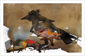 FRAMED Original: Crows Feet-Styles > Birds, Framed, Size > Medium (21-50 cm, eg. A4 and A3), Techniques > Original Watercolours-Rutheart