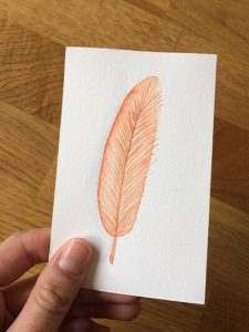 Feather Card #6-Techniques > Cards, Techniques > Cards > Feathers, Size > Small (up to 21 cm, eg. A5)-Rutheart