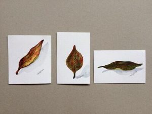 Leaf Card #2-Techniques > Cards > Leafs, Styles > Nature Fragments, Techniques > Original Watercolours, Size > Small (up to 21 cm, eg. A5)-Rutheart