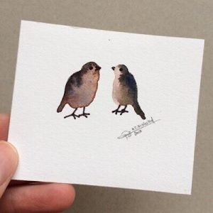 Tiny Bird Painting #13-Styles > Birds, Techniques > Original Watercolours, Size > Small (up to 21 cm, eg. A5), Techniques > Cards > Tiny Bird Paintings-Rutheart